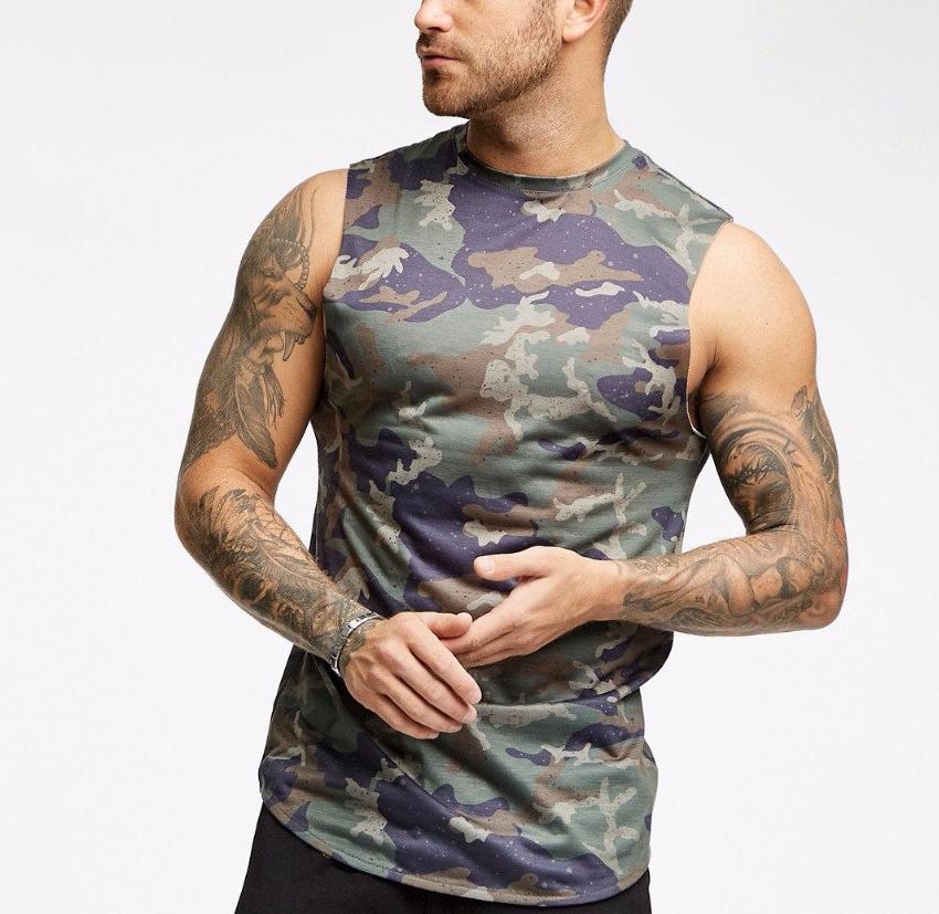 slim fit longline sleeveless tee shirts for men