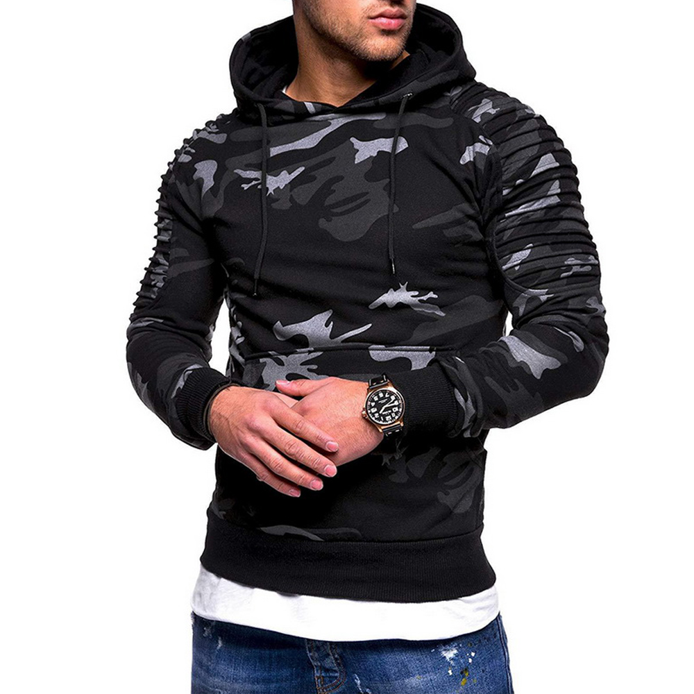 Men's Fitness Clothing Camo Hoodie Fitted Hooded Sweatshirt