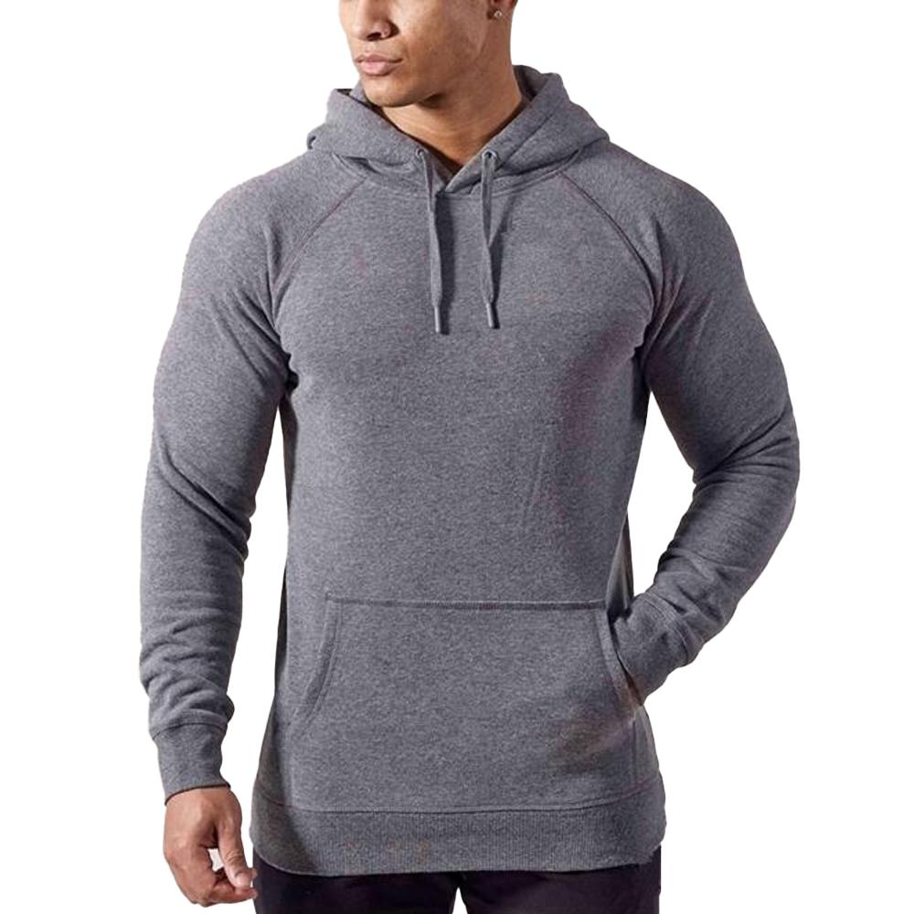 Men Pullover Gym Athletics Grey Hoodie