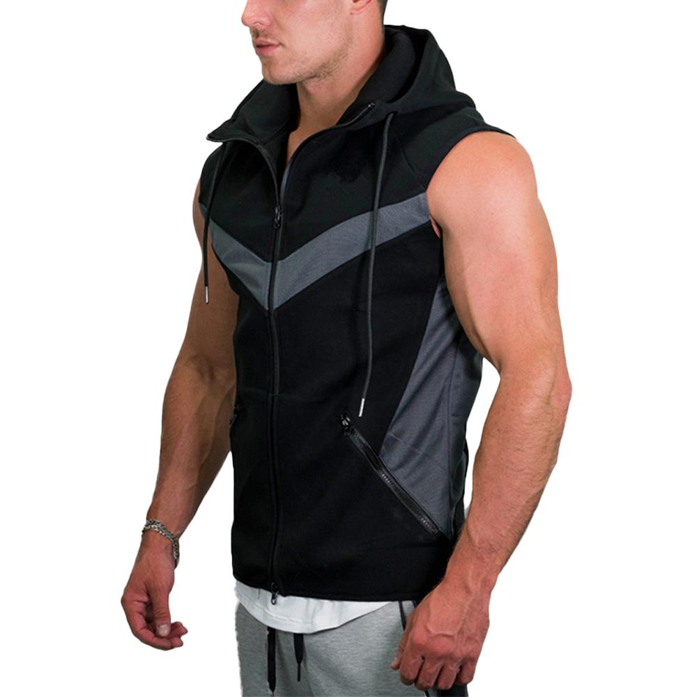 Men Custom Design Zipper Sleeveless Fleece Hoodie