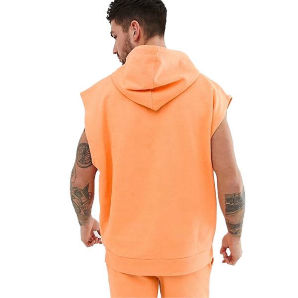 Custom Thin Oversized Sleeveless Gym Hoodie For Men