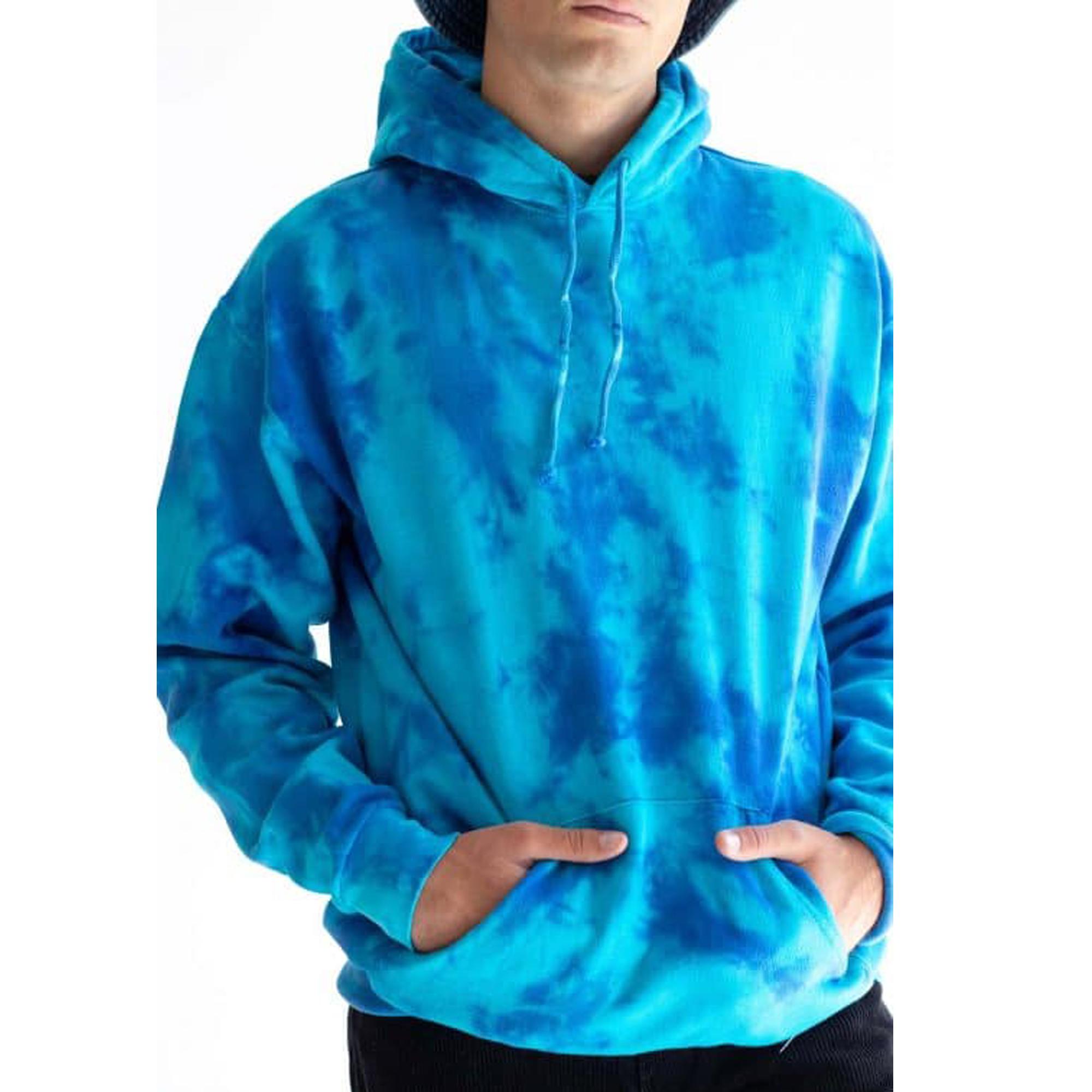 Custom Sport Sweatshirt Blue Tie Dye Men Gym Hoodies