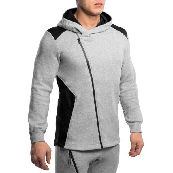 Custom Plain Hoodies Long Sleeve Raglan Zipper Up Bulk Hoodies Men
