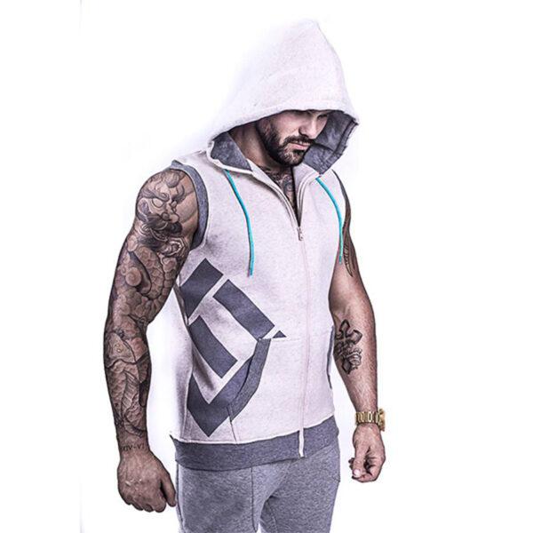 Fleece Plus Size Sleeveless Training Custom Fitness Hoodies Men