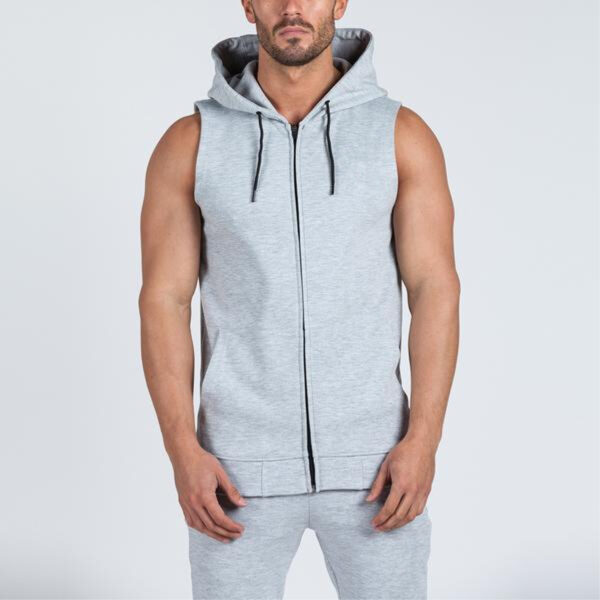 Gym Bodybuilding Workout Jumper Men Sleeveless Zip Up Hoodie