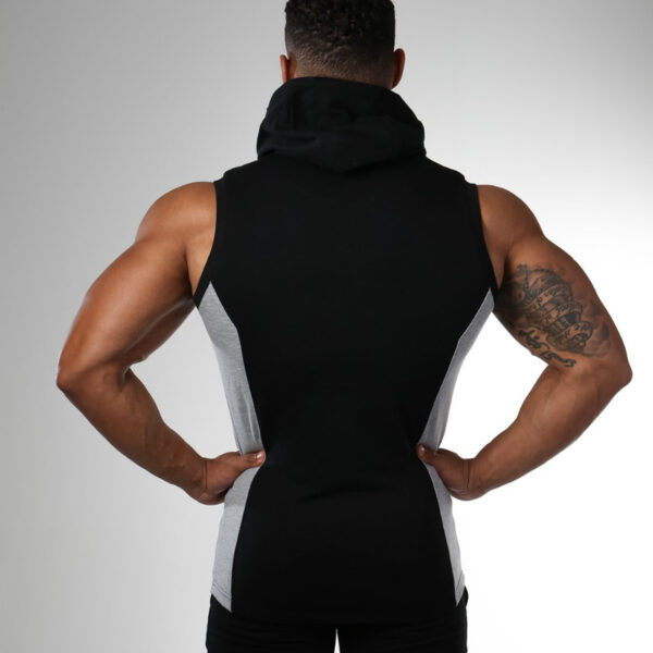 Gym Training Sleeveless Zip Up Hoodie Muscle Workout Tracksuit For Mens